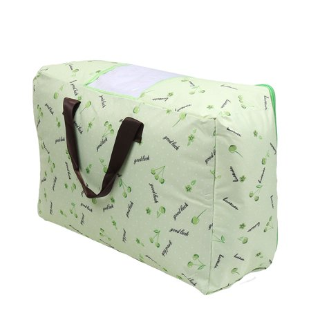 Floral Print Bed Sheets Quilt Storage Bag Container Light Green 60cm x 48cm