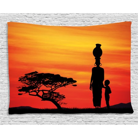 African Woman Tapestry, Rural Countryside Landscape Mother and Child at Sunset Acacia Tree, Wall Hanging for Bedroom Living Room Dorm Decor, 80W X 60L Inches, Yellow Scarlet Black, by Ambesonne