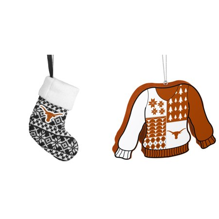 NCAA Texas Longhorns ORNAMENT STOCKING KNIT Foam Ugly Sweater Christmas Ornament Bundle 2 Pack By Forever Collectibles