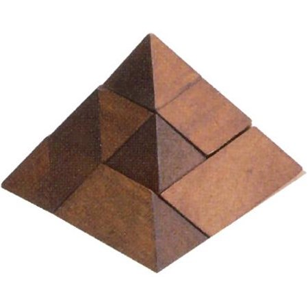 2.5' Wooden Pyramid Shape Brain Teaser 3D Puzzle, Maple Brown - Shapes 3d