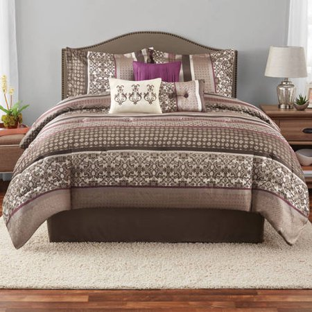 Mainstays Multi Stripe 7-Piece Jacquard Comforter Set, King (Croscill Stripes Comforter)