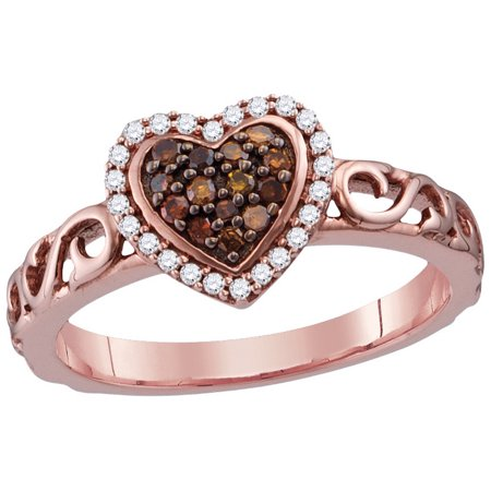 One Love Round Ring - Size 7 - 10k Rose Gold Round Chocolate Brown Diamond Heart Love Ring (1/4 Cttw)