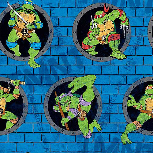 "TMNT Turtle Power Sewer Holes, Fleece, Blue, 59/60"" Wide, Fabric by the Yard"