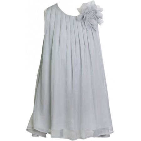 Little Girls Chiffon Ruched Neckline A-Line Party Flower Girl Dress Silver 2 (Size 2-12)