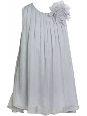 342e8a4d5155 Product Image Little Girls Chiffon Ruched Neckline A-Line Party Flower Girl  Dress Silver 2 (Size. BluNight Collection