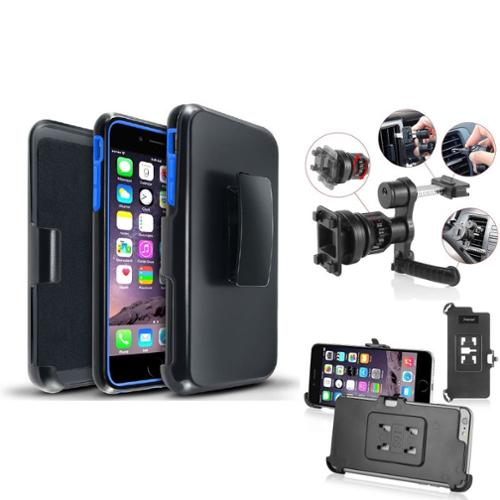 "Insten Hybrid Blue PC Black Holster Silicone Case For iPhone 6S Plus 6 Plus 5.5"" (with Car Air Vent Phone Holder)"