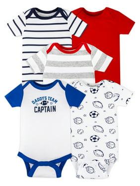 Little Star Organic Baby Boy Short Sleeve Bodysuits, 5-Pack