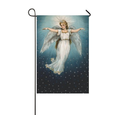 MYPOP Vintage Christmas Angel Flying Garden Flag House Banner 12 x 18 inch