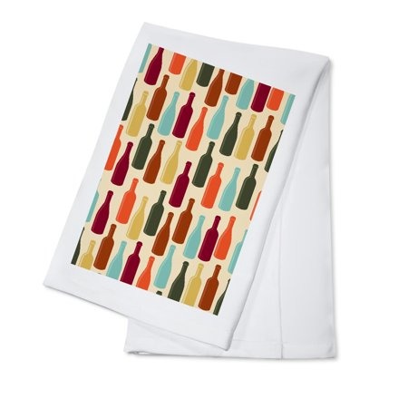 Wine Bottle Pattern (Cream Background) - Lantern Press Artwork (100% Cotton Kitchen (18 Percent Wine)