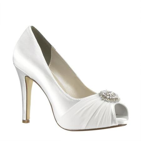 touch ups women's antonia dress pump, white satin, 6 m (Touch Ups Satin Pumps)