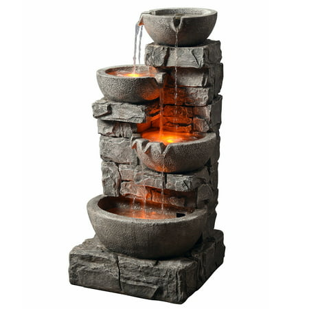 Lighted Punch Fountain - Peaktop - Outdoor Stacked Stone Tiered Bowls Fountain w/ LED Light