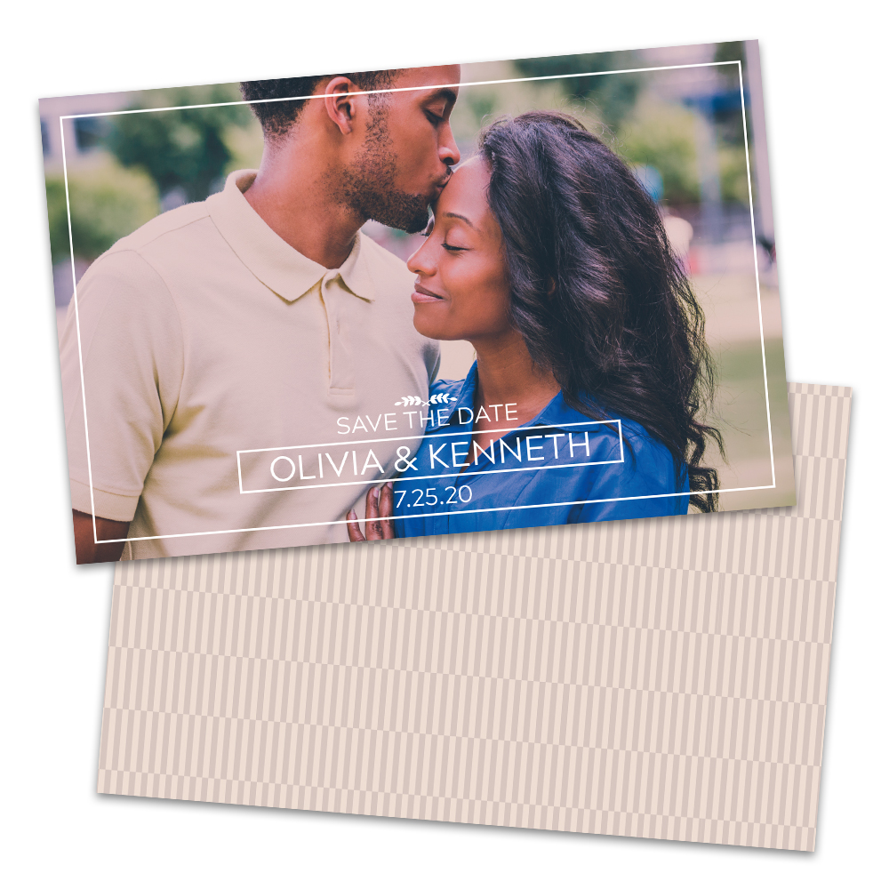 Personalized White Frame Wedding Save The Dates