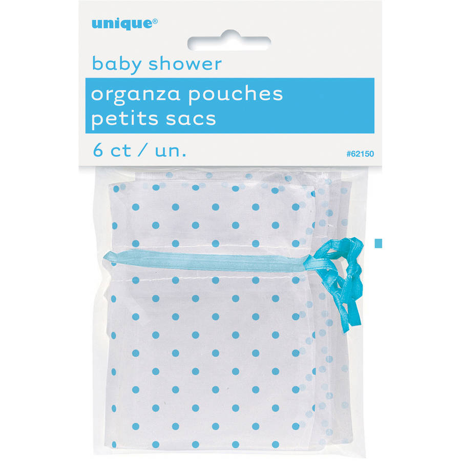 Organza Polka Dot Baby Shower Favor Bags, 4 x 2.75 in, Light Blue, 6ct