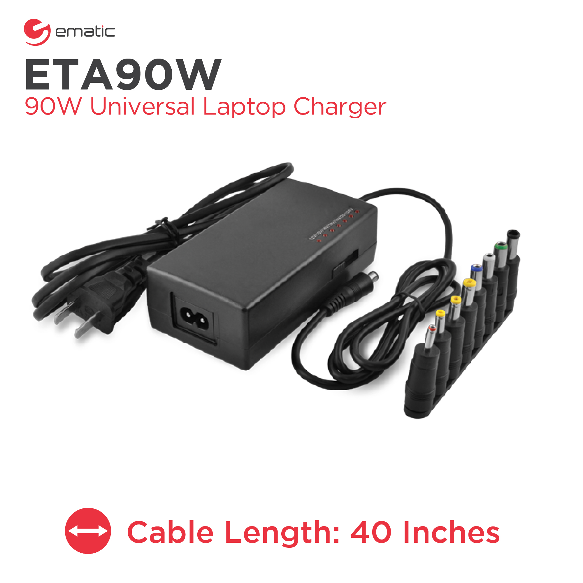 Ematic 90W Universal Laptop Charger