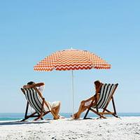 ORNO TTOBE  7 ft Acrylic Orange and White Striped Patio Pole Beach Umbrella 8 Ribs with Carry Bag