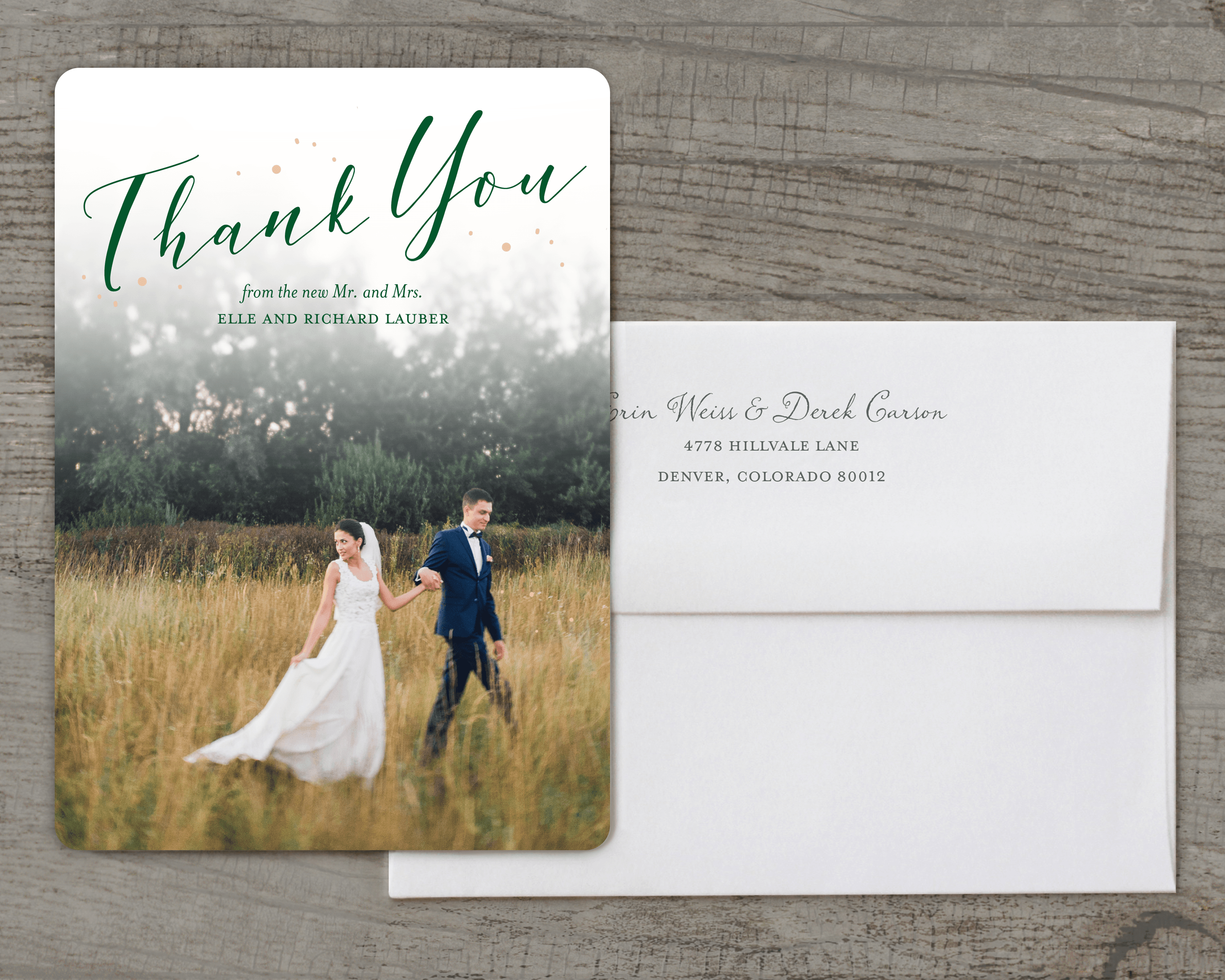 Personalized Wedding Thank You Card Fairytale Flora 5 X 7 Flat Deluxe