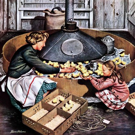 Marmont Hill Chicks in Incubator by Stevan Dohanos Painting Print on Wrapped Canvas