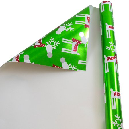 JAM Christmas Foil Wrapping Paper, 25 Sq Ft, 1/Pack, Green with Reindeer Gift Wrap ()