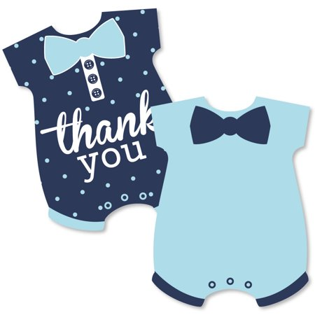 Hello Little One - Blue & Navy - Shaped Thank You Cards - Boy Baby Shower Thank You Note Cards with Envelopes - Set of  12
