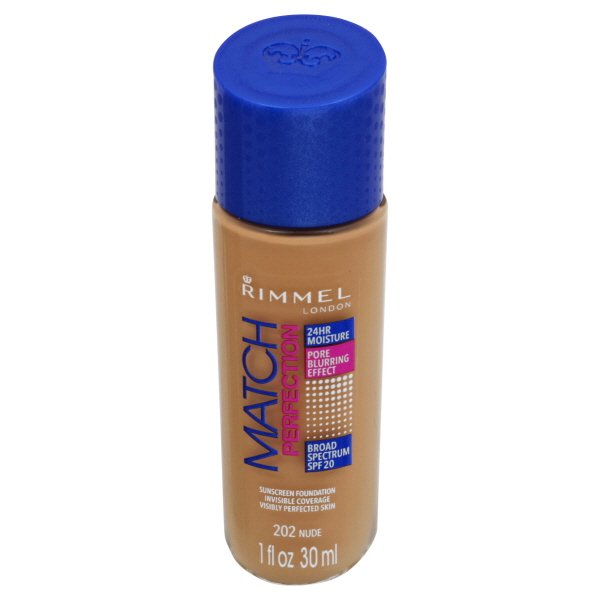 Rimmel Match Perfection Light Perfecting Radiance Sunscreen Foundation, 202 Nude