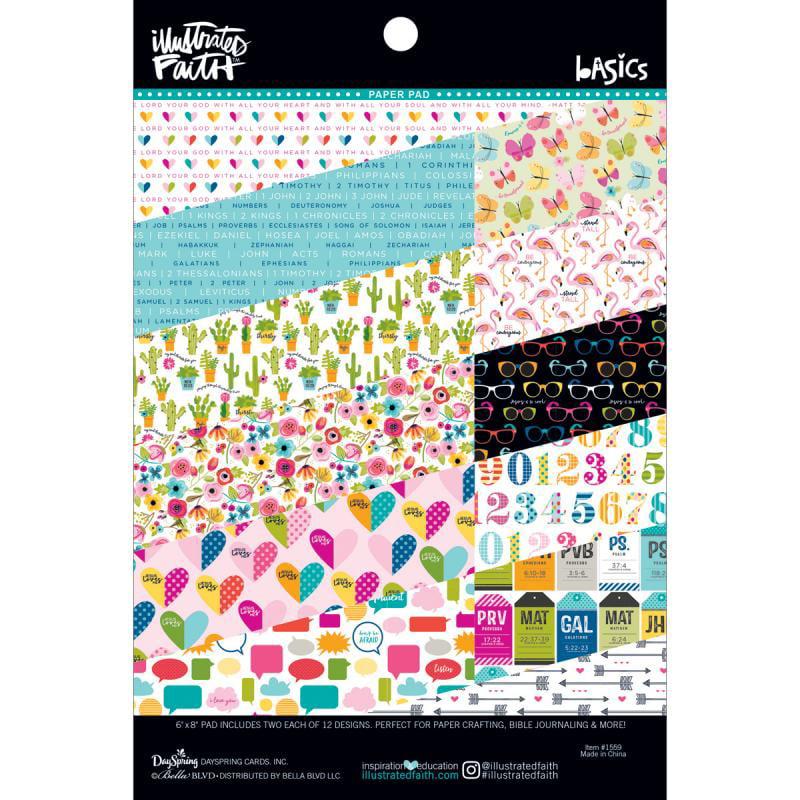 "Illustrated Faith Basics Paper Pad 6"" x 8"" - #2  -  12 Designs/2 Each"