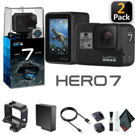 GoPro HERO7 Black (2 Pack) - Waterproof Action Camera - Bundle