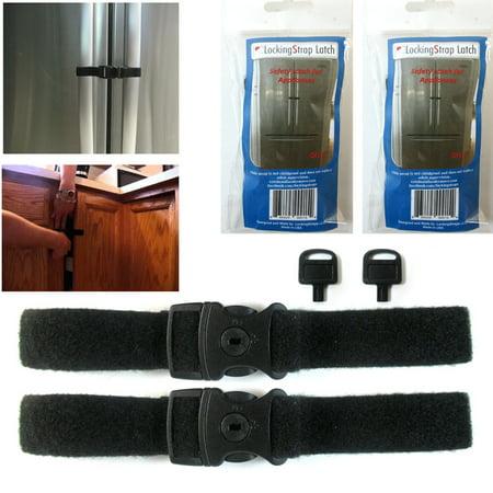 2 Pc Locking Strap Lock Key Fridge Guard Refrigerator Door Latch Baby Safety Kid