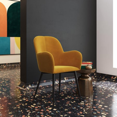 DHP Fitz Accent Chair, Retro Armchair, Mustard Yellow ...