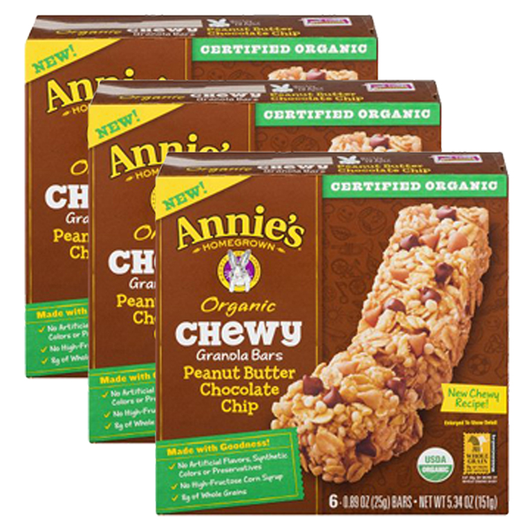 (3 Pack) Annie's Organic Chewy PB Chocolate Chip Granola Bars 6 Ct 5.34 oz