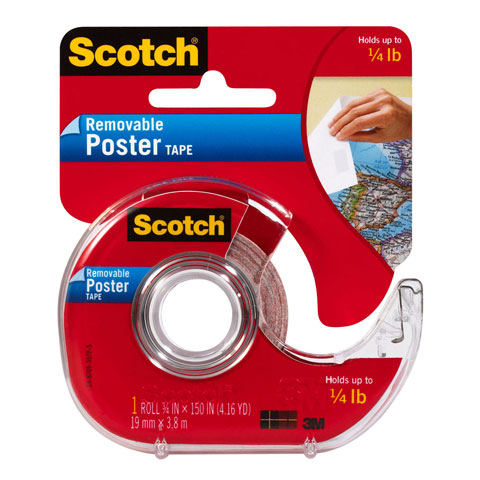 Scotch Clear Removable Poster Tape Dispenser, 3/4in. x 150 inches