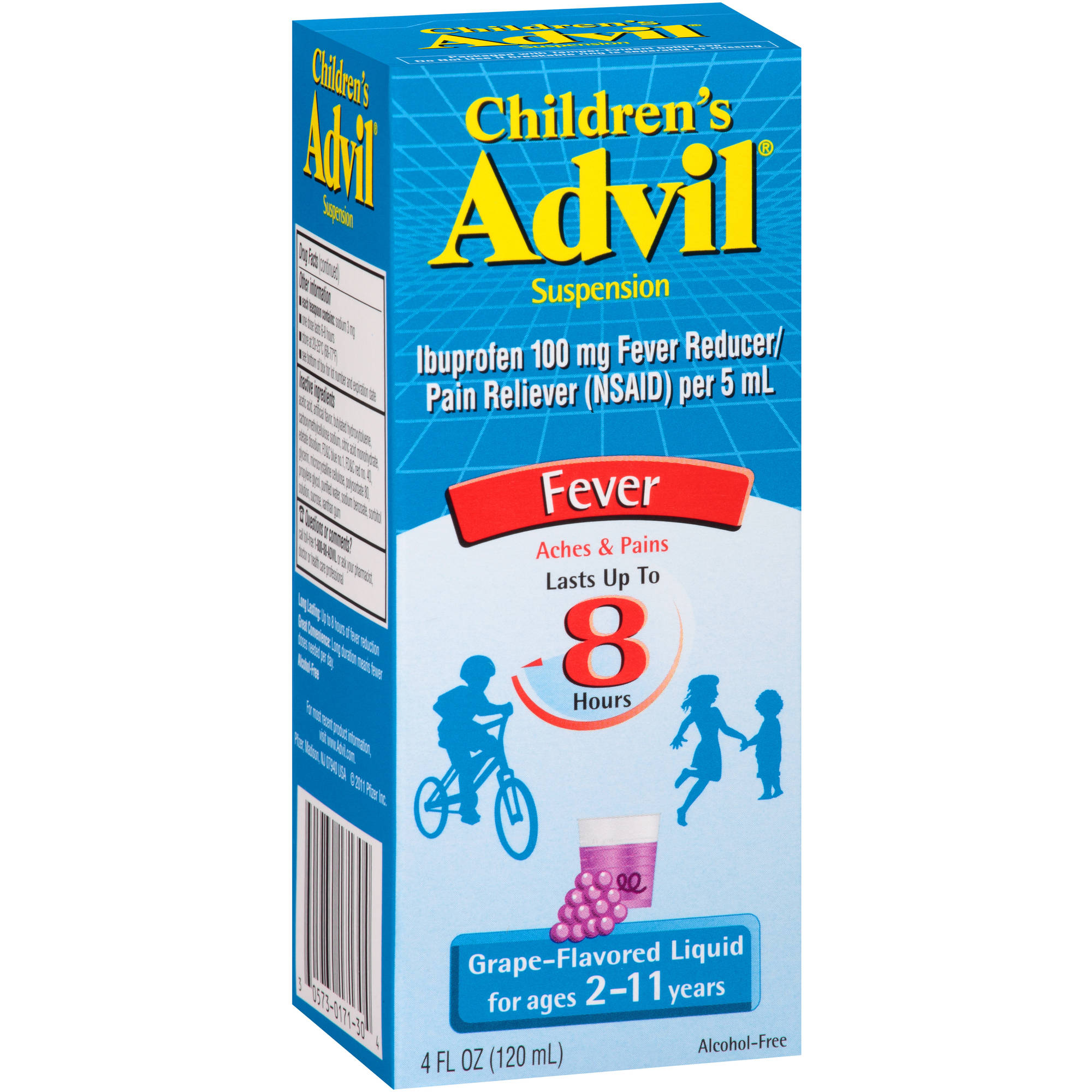 Children's Advil Liquid Suspension Fever Reducer/Pain Reliever (Ibuprofen) in Grape Flavor, 100 mg 4 fl oz