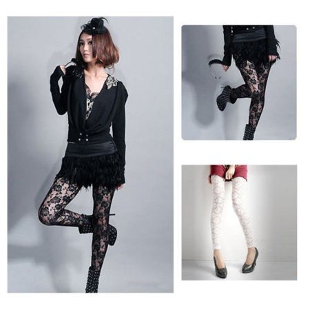 Sexy Women Lady Rose Lace Through Leggings Pants Footless Tights Two Colors