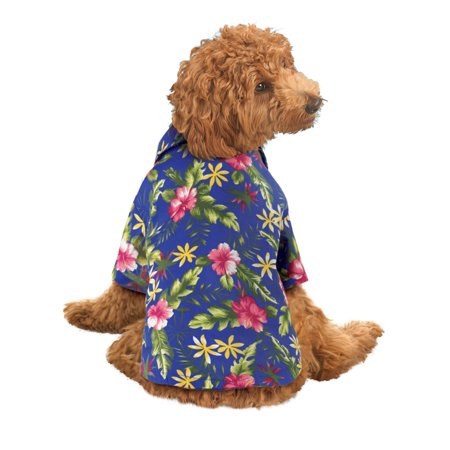Dog Hawaiian Shirt Summer Short Sleeve Polo Luau Pet Costume, Medium, Blue