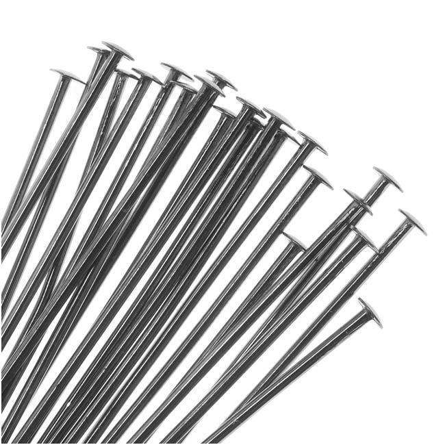 Gun Metal Plated Head Pins 1.5 Inches/21 Gauge (50)