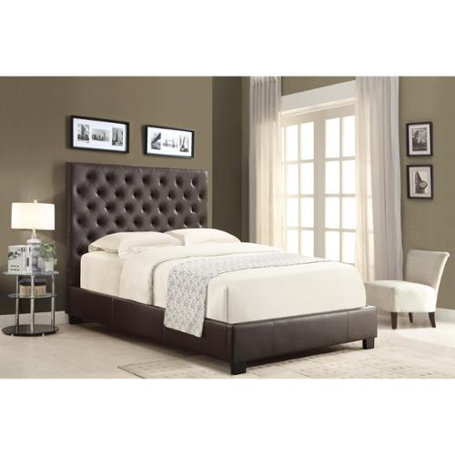 Pivot Direct Chesterfield Leather Platform Bed with Euro Slat System Eastern King in Mocha