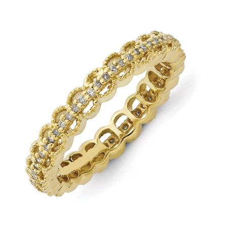 8edee9f02fbe8 3.5mm Sterling Silver Stackable Expressions Gold-plated Carved With Dia.  Ring - Ring Size: 5 to 10