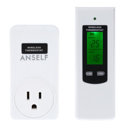 Anself Rf 433Mhz Wireless Thermostat Plug Lcd Remote Control Temperature Controller Plug   Play High Low Temperature Alarm