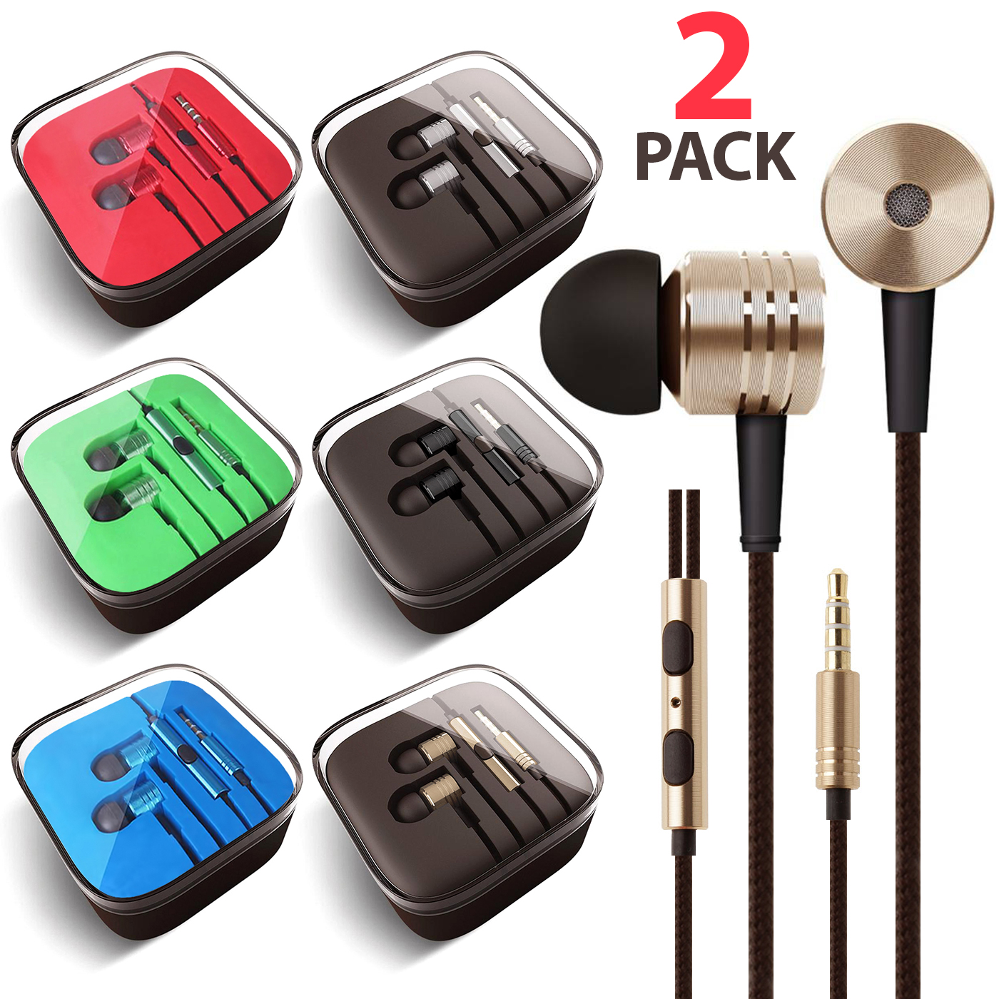 2x Pack 3.5mm Headphones In-Ear Earbuds Afflux Universal Stereo Headset Earphones For Cellphone Tablet iPhone 6 6S 5S SE 6/6S Plus Earbuds iPod iPad Samsung Galaxy S9 S8 S7 S6 Note 5 Note 8 9 LG Stylo