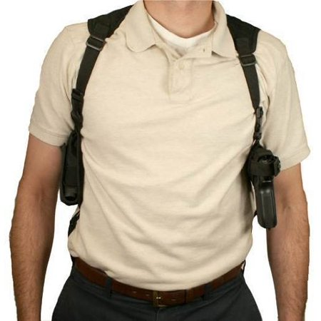 Ambidextrous Horizontal Shoulder Holster w/ Double Magazine Holder, Black, By NcSTAR from