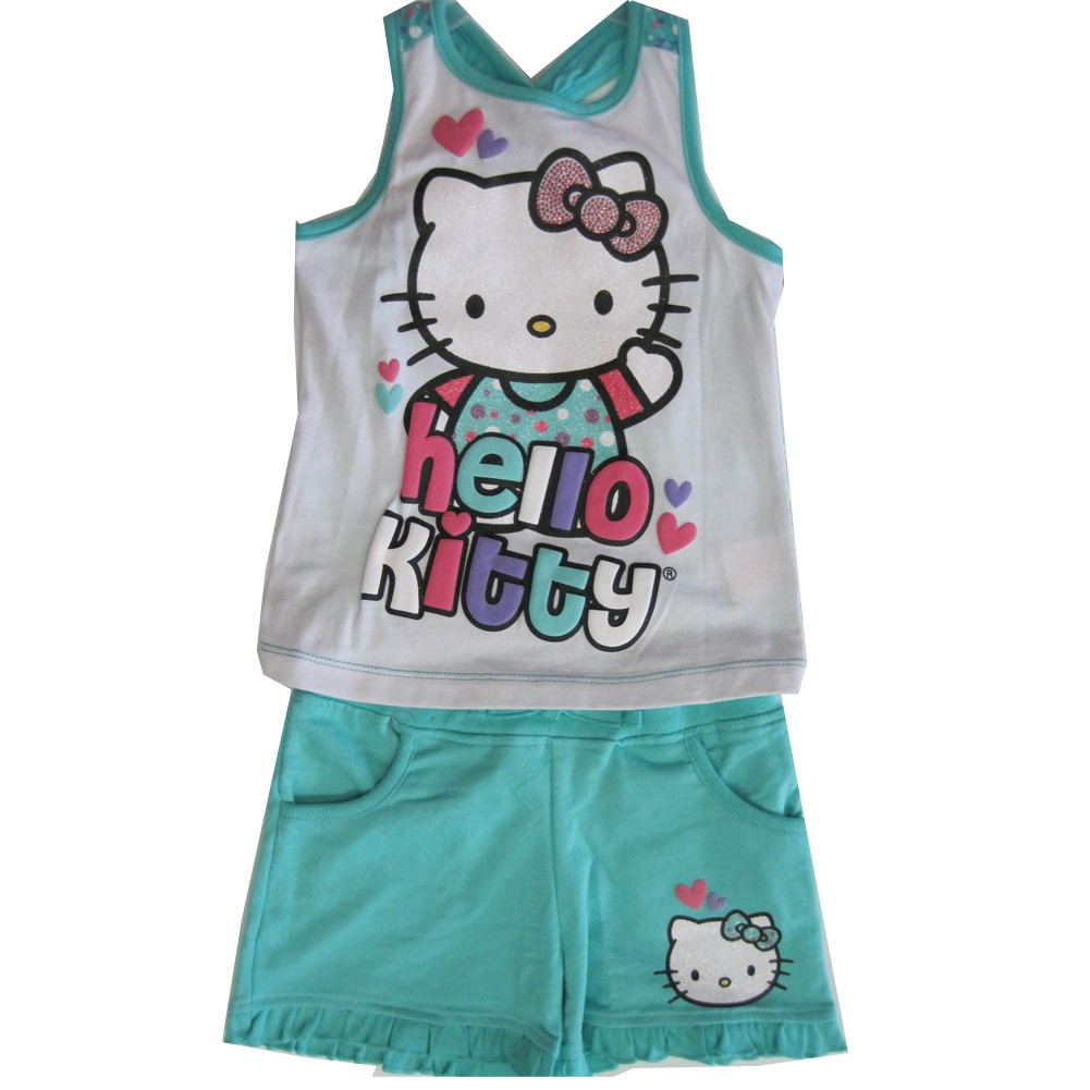 Hello Kitty Little Girls White Turquoise Studded 2 Pc Shorts Set 4-6X