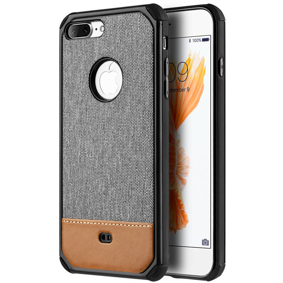 Mundaze Brown Canvas Dual-Tone Case for Apple iPhone 7 Plus, Grey