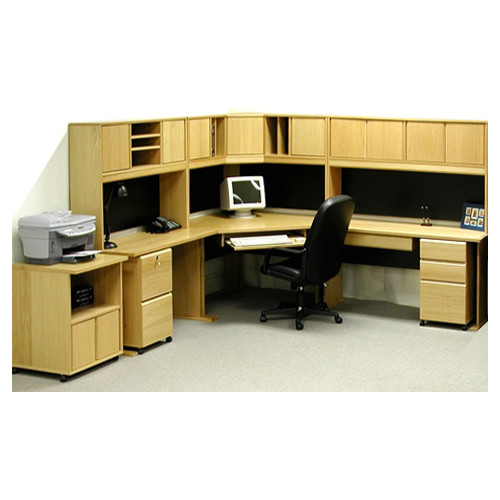 Rush Furniture Office Modulars Corner Executive Desk with Hutch