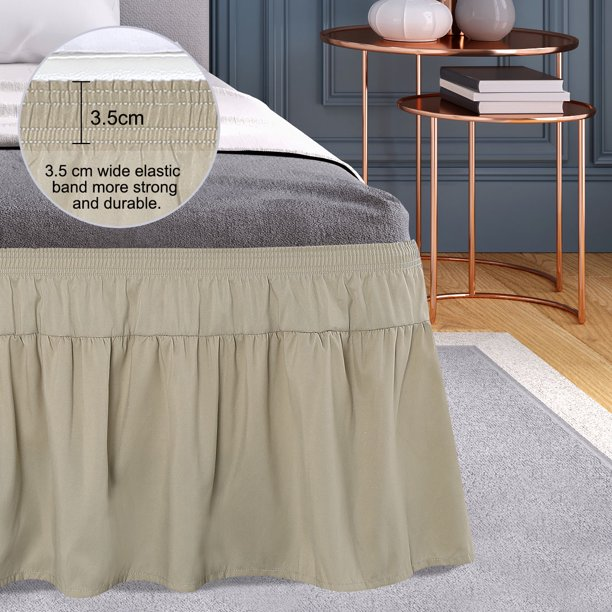Brushed Elastic Wrap Around Bed, Khaki Bed Skirt Queen