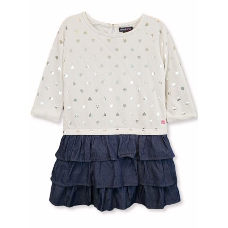 Limited Too Long Sleeve French Terry & Denim Ruffle Dress (Little Girls & Big - Holiday Dresses For Girls 7-16