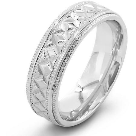 Stainless Steel Diamond Pattern Milgrain Edge Ring
