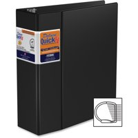 "Stride Deluxe QuickFit Commercial D-Ring Binder - 4"" Binder Capacity - Letter - 8 1/2"" x 11"" Sheet Size - D-Ring Fastener - 2 Internal Pocket(s) - Vinyl, Hardboard - Black - Recycled - 1 Each"