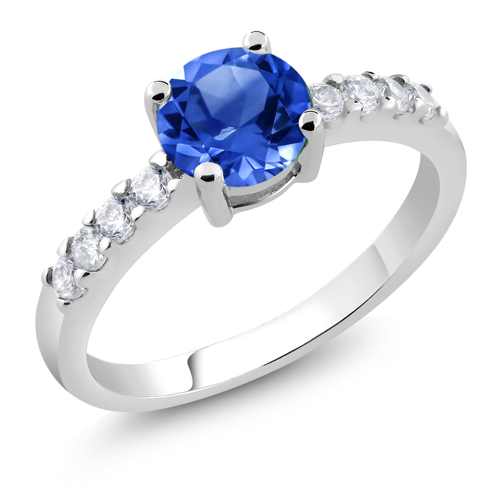 Stunning Ring With Round Blue Cubic Zirconia (Available in Size 6,7 and 8)