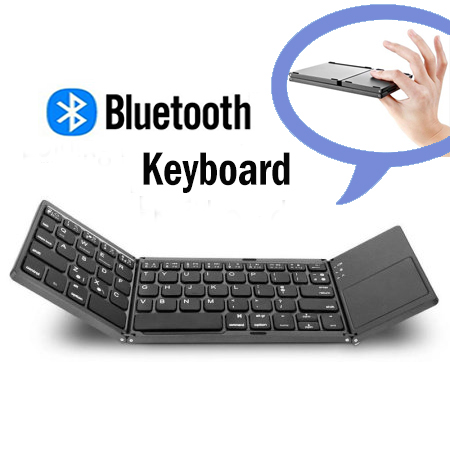 Foldale Bluetooth Keyboard, Jelly Comb Rechargeable Portable BT Wireless Foldable Mini Keyboard with Touchpad for Tablet Samsung or Other Cell Phones (Dark Gray)