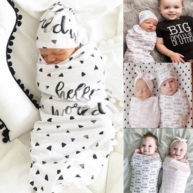 Newborn Baby Boy Girl Swaddle Soft Cotton Sleeping Bag Wrap Blanket