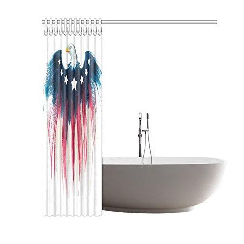 Waterproof Fabric Bathroom Liner American Eagle Flag Shower Curtain Set Mat Hook